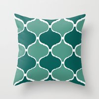 Marrakech Pattern Dark Green Throw Pillow