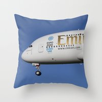 Emirates A380 Airbus And Pigeon. Throw Pillow