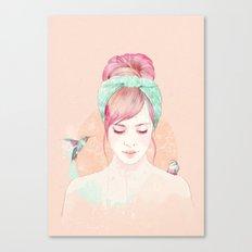 Pink hair lady Canvas Print