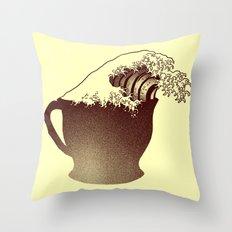 Coffee Wave Throw Pillow