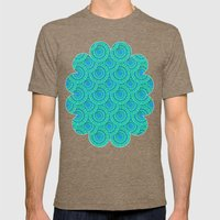Teal Parasols Pattern Mens Fitted Tee Tri-Coffee SMALL