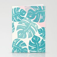 Linocut Monstera Rosy Stationery Cards
