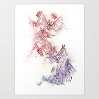 Flight of Bats Art Print