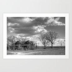 Forgotten Farm in Black and White Art Print