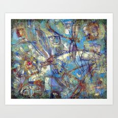 Dragonflies in blue Art Print