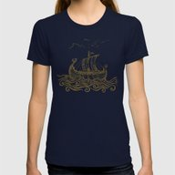 Viking Ship Womens Fitted Tee Navy MEDIUM