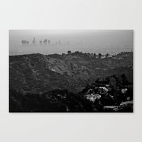 Veiled Los Angeles from Bronson Canyon hiking trial Canvas Print