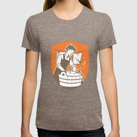 Housewife Washing Laundry Vintage Retro Womens Fitted Tee Tri-Coffee SMALL