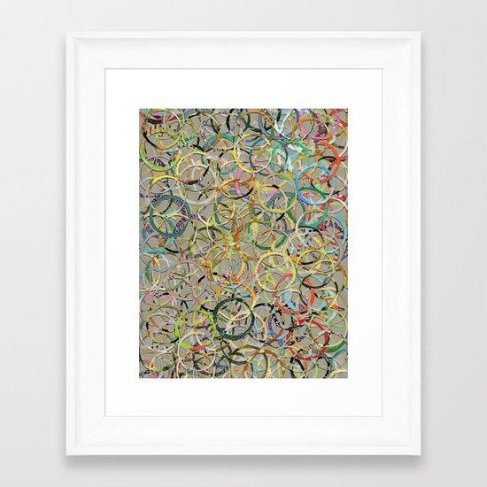 Rainbow Circles Collage Framed Art Print