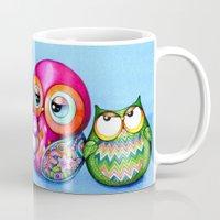 Crazy Owl Family  Mug