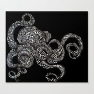 Barnacle Octopus In Blac… Canvas Print