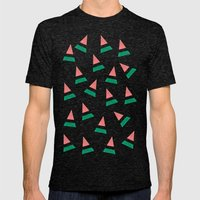 Watermelon Mens Fitted Tee Tri-Black SMALL