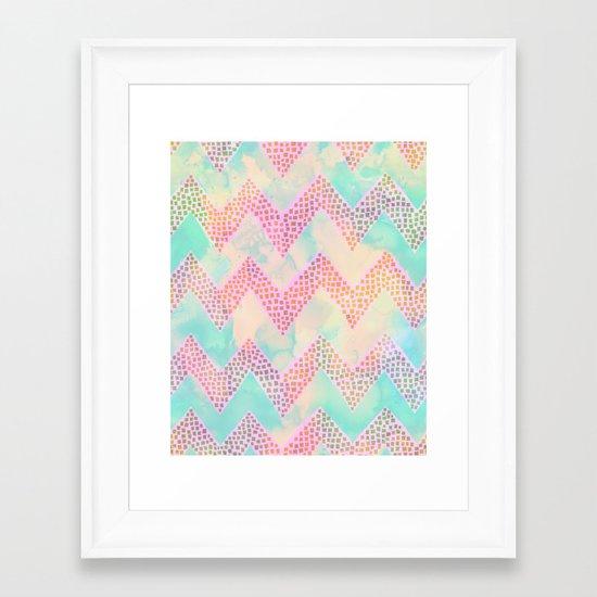 Little Squares Chevron - Pastel Framed Art Print