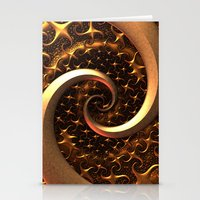 Golden Spirals Stationery Cards
