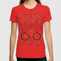 Fixed gear bikes Womens Fitted Tee Red SMALL