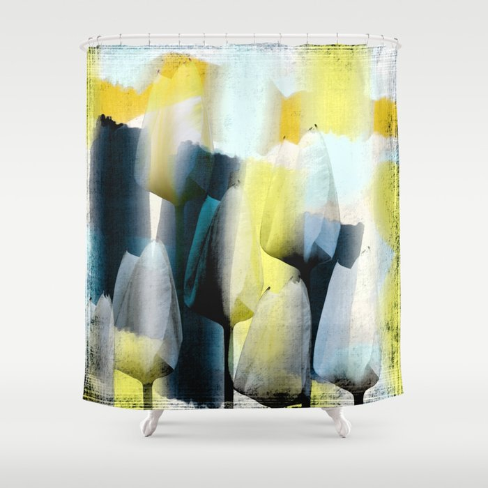 Grunge Tulips In Yellow White And Blue Shower Curtain By Thea Walstra Society6