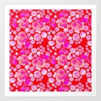 Rosaful rose pattern # Red Art Print