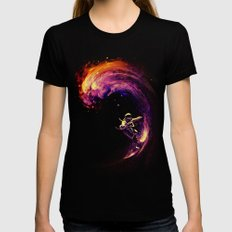 Space Surfing Womens Fitted Tee Black LARGE