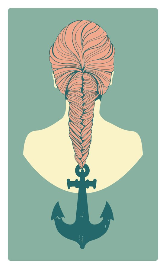 Fish and Anchor Art Print