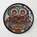 Magic  graphic owl  painting Wall Clock