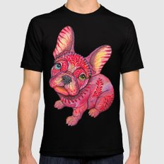 Raspberry frenchie Black SMALL Mens Fitted Tee