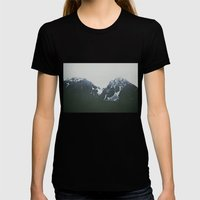 Vintage Snowy Mountain Womens Fitted Tee Black SMALL