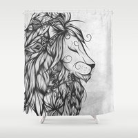 Poetic Lion B&W Shower Curtain