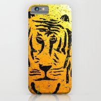 iPhone Cases featuring Graffiti Tiger by Mitchell power