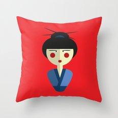 Japanese Doll Throw Pillow