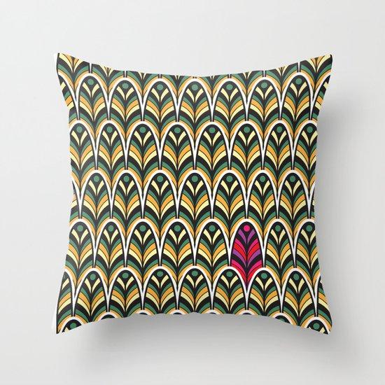 Rubine Feather Throw Pillow