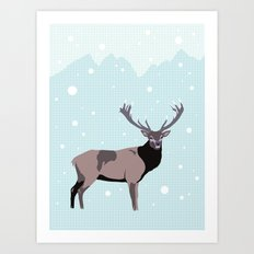 Snow Deer Art Print