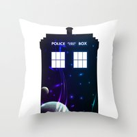 Space in TARDIS Throw Pillow