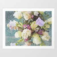 Festive Vintage Floral Art Print
