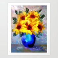 FLOWERS - A vase of Sunflowers Art Print