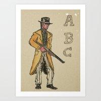 A B Cowboy Art Print