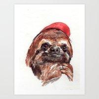 Sloth with Baseball Cap Art Print