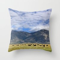 Field Of Cows Throw Pillow