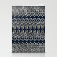Silvery Striped Doodle Stationery Cards