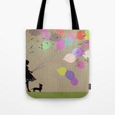 girl with balloons Tote Bag