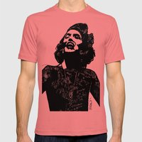 B&W Fashion Illustration… Mens Fitted Tee Pomegranate SMALL
