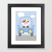 Mobil series car cow Framed Art Print