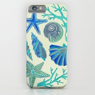 iPhone & iPod Case featuring Blue Seashells by Cat Coquillette