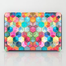 Crystal Bohemian Honeycomb Cubes - colorful hexagon pattern  iPad Case