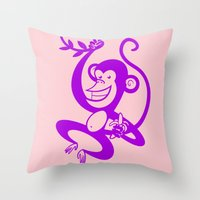 Purple Monkey Throw Pillow