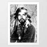 Jason Wing as Hania Spirit warrior B&W Art Print