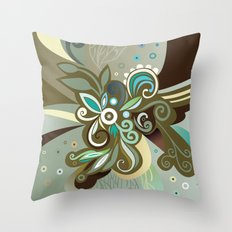 Floral curves of Joy, olive Throw Pillow