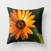 Vibrant Orange Flower Throw Pillow