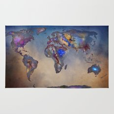 Stars world map. Blue Rug