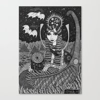 Girl In A Boat In Autumn… Canvas Print