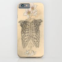 iPhone & iPod Case featuring HUMAN NATURE Anatomy Series Number 2 - Ribs & Orchids  by Casstronaut